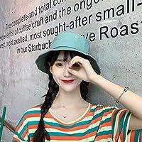 野生の中国の刺繍帽子防風帽子女性の夏の屋外の太陽の帽子の男性の韓国の模造紫外線鍋帽子潮 ZHANGHA (Color : Aqua Blue, Size : Adjustable)
