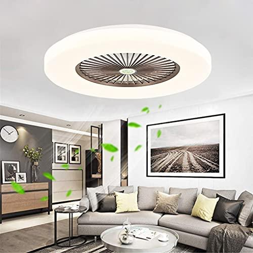 LANMOU LED Lámparas Ventilador de Techo con Mando Distancia para Dormitorio, Moderno Regulable Plafón Techo Luz Ventilador Silencioso con 3 Velocidad del Viento Ajustable y Temporizador,Marrón