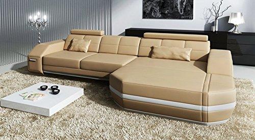 Bullhoff by Giovanni Capellini Sofa Couch Leder L-Form Ecksofa beige/weiß Designer Wohnlandschaft modern mit LED-Licht Beleuchtung Frankfurt IV