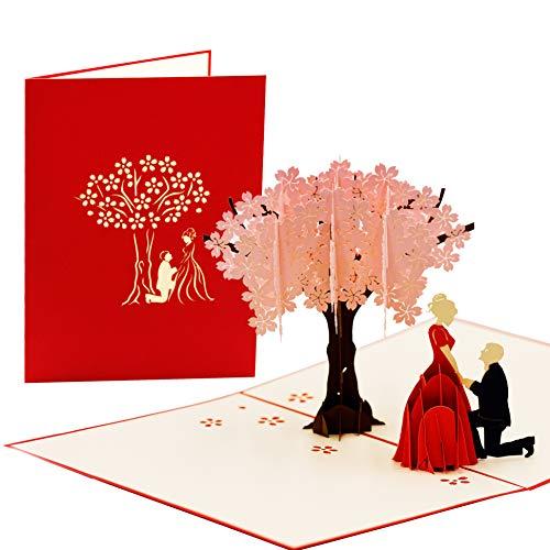 Hochzeitskarte Pop Up 3D | Glückwunschkarte zur Hochzeit, Verlobung | Einladungskarten, Geldgeschenke Hochzeit, L20