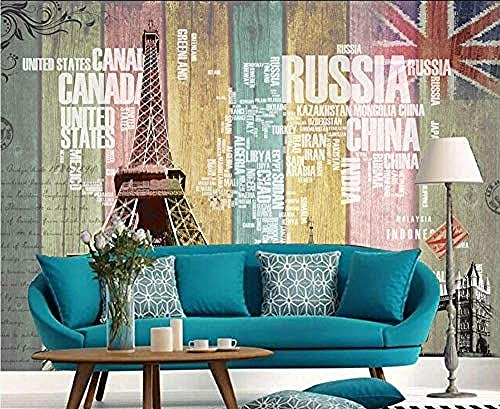 Personalidad Europa y América Retro Wood Grain Tower Letter World Map Wallpaper Pared Pintado Papel tapiz 3D Decoración dormitorio Fotomural de estar sala sofá mural-430cm×300cm