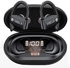 Vislla Bluetooth Headphones Sports Wireless Earbuds TWS BT5.0 Stereo Deep Bass Waterproof Earphones Noise Canceling Headset with Battery Display Charging Case & Built (Black)