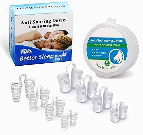 Schnarchstopper 8 Stück Schnarchschiene & Nasepreizer Nasendilator Premium Schnarchen Stopper,Anti Schnarchen Geräte Hilft Gegen Schnarchen, Schlafapnoe & Schweres Atmen, BPA-Frei