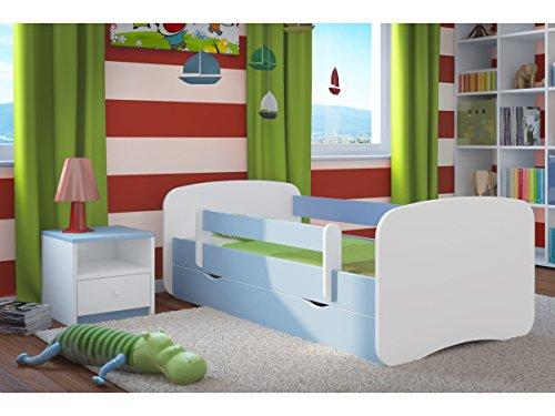 Kocot Kids Kinderbett Jugendbett 70x140 80x160 80x180 Blau mit Rausfallschutz Matratze Schublade und Lattenrost Kinderbetten für Junge - ohne Motiv 180 cm