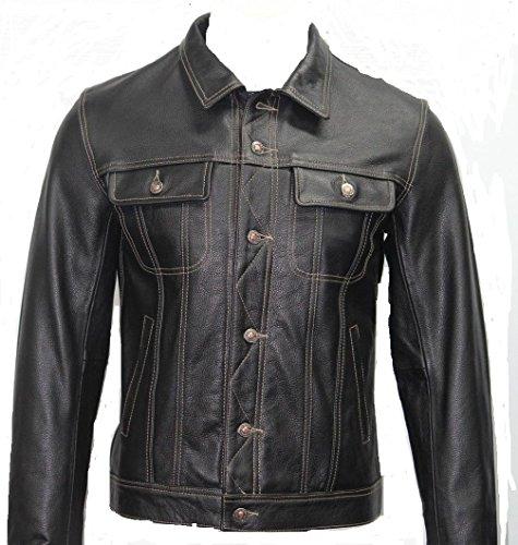 Mens Gents HARD WEARING COWHIDE Trucker Designer REAL Leather Jackets (UK 3XL / EU 58)