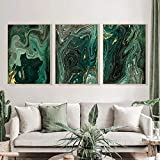 Abstract Painting Golden Emerald Green Marble Flow Poster Canvas Wall Art Print Nordic Home Wall Decor Living Room Mural (70x100cm x3 No Frame
