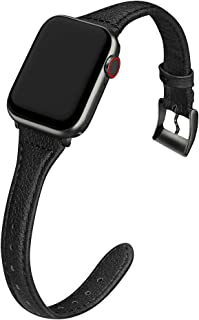 MARGE PLUS Compatible Apple Watch Band 38mm 40mm Women, Slim Genuine Leather Watch Strap Replacement for iWatch Series 5 4 3 2 1, (Black Band + Black Adapter)