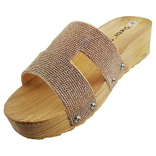 Siebi's Como Badeschuhe Strandschuhe Pantoletten Damen: Größe: 41 | Farbe: Gold