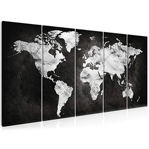 decomonkey Impression sur Toile Carte du Monde 200x80 cm 5 Pieces Tableau Mural Image sur Toile Photo Images Motif Moderne Decoration tendu sur Chassis Continent Noir