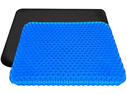 Gel Sitzkissen Gelkissen, Cool & Atmungsaktiv Orthopädisch Sitzkissen mit Anti-Rutsch Bezug & mit innovativer Honigwaben Konstruktion Gel-Kissen für Auto, Büro- & Rollstuhl