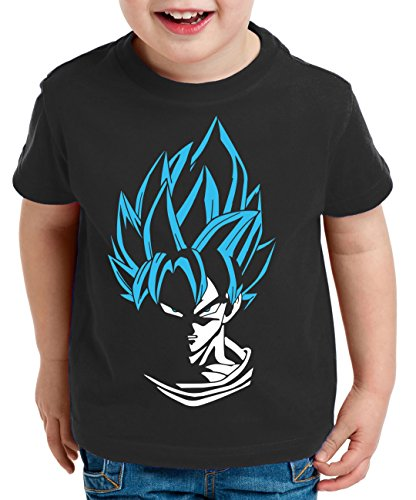 WhyKiki Super Son Camiseta para Niños T-Shirt Goku Dragon Master Ball Vegeta Turtle Roshi Db, Farbe2:Schwarz/Blau;Kinder T-Shirt Größe:122/128