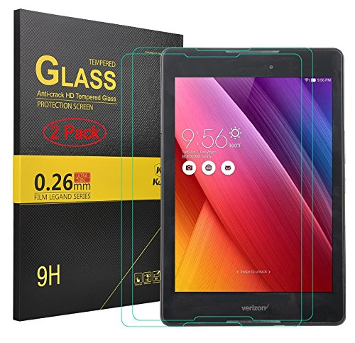 Asus ZenPad Z8 Screen protector, KuGi � Asus ZenPad Z8-(2 pack) High Quality 9H Hardness HD clear Tempered Glass Screen Protector for Asus ZenPad Z8 Verizon 7.9 inch ZT581KL tablet (2 pcs)