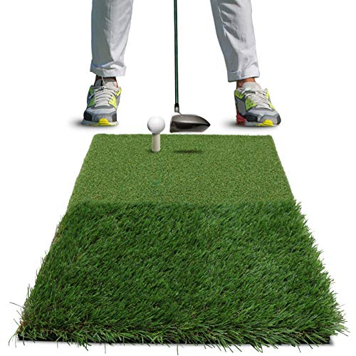 "Rukket Tri-Turf Golf Hitting Mat Attack | Portable Driving, Chipping, Training Aids for Backyard with Adjustable Tees and 9 Foam Practice Balls (Standard (25"" x 16""))"