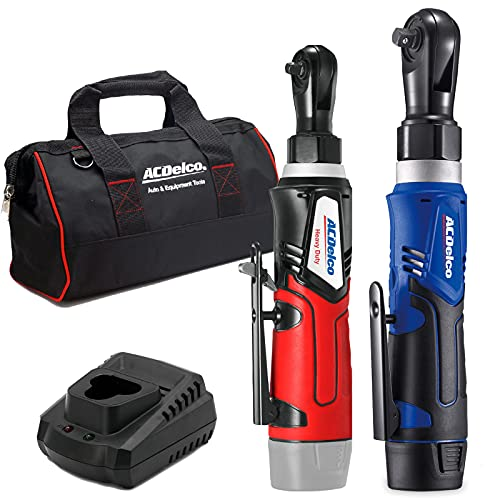 """ACDelco ARW1209-K9 G12 Series 12V Li-ion Cordless ¼"""" & 3/8"""" Ratchet Wrench Combo Tool Kit with Canvas Bag"""