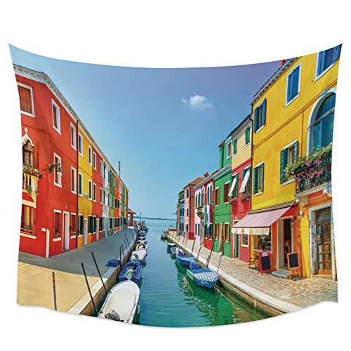 Italia Venecia Agua Calle Tapiz de pared Cubierta Toalla de playa Picnic Estera de yoga Decoración del hogar 150x179cm