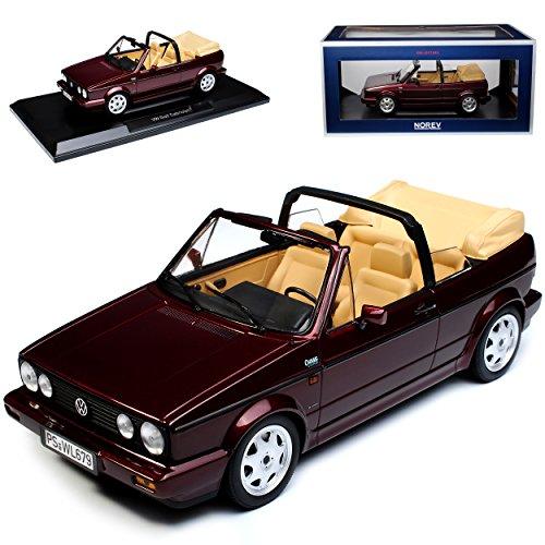 Norev Volkwagen Golf I Cabrio Dunkel Rot Metallic 1979-1993 1/18 Modell Auto mit individiuellem Wunschkennzeichen