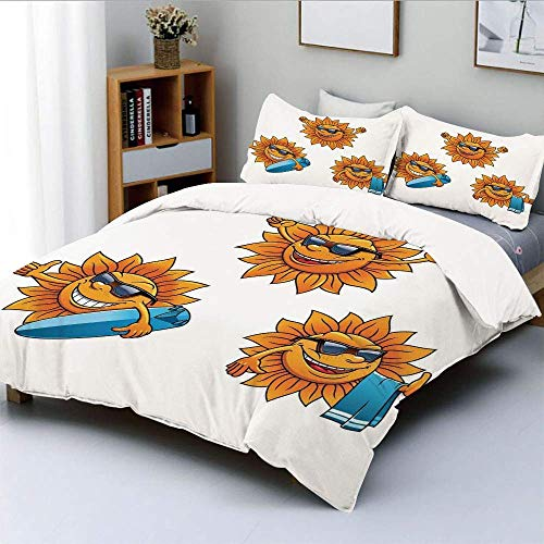 XOXUN Bettbezug-Set, Surf Sun Charaktere mit Sonnenbrille und Surfbrettern Fun Hippie Summer Kids Decor DecorativeDecorative 3-teiliges Bettwäscheset mit 2 Kissen Sham, Orange White, Best GIF