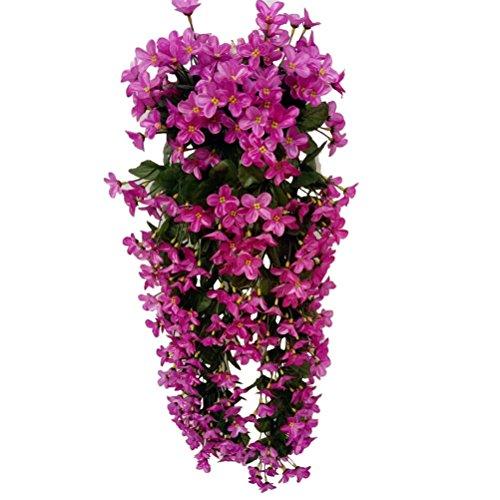 VORCOOL 4petals Künstlich hängende Blumen, Blauregen Hängende Kunstblumen für Hochzeit Haus Dekoration (Lila)