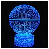 3D Optical Illusion Night Light, Visual Creative LED Desk Lamp Touch Control 7 Color Change USB Powered for Home Decorations or Holiday Gifts (Death Star)
