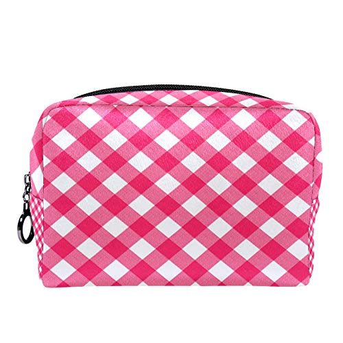 Cosmetic Bag Womens Makeup Bag for Travel to Carry Cosmetics Change Keys etc,with Square Pink Plaid