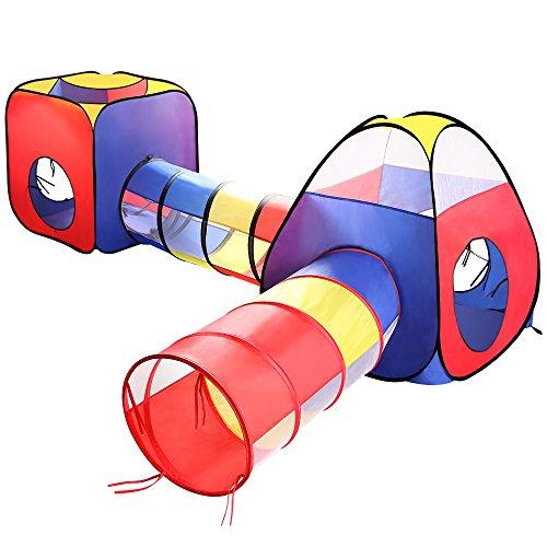 Eocusun Kinderzelt Spielzelt mit Krabbel Tunnel, 4 Teilliges Faltbar Spielhaus Kinderzelt mit Reißverschluss Bällebad Ideal für Zuhause und im Garten