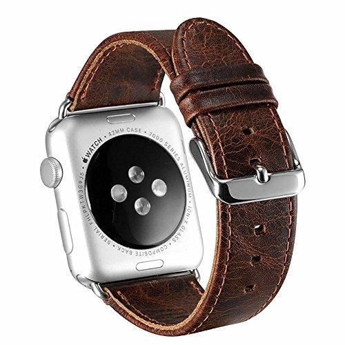 Pinhen, cinturino vintage di ricambio per Apple Watch,in vera pelle, con adattatori per Apple Watch Series 4,3,2, 1, 42mm, color caffè