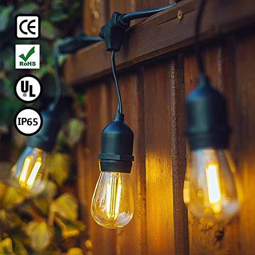 Catena di Lampadine, GogoTool 15m 48FT IP65 E27 Edison Impermeabile LED Luci Stringa Esterne, Catena Luminosa Lampadina Decorative per IInterno e Esterno,220V,Luce Gialla per Natale(15+2 lampadine)