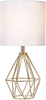 COTULIN Gold Modern Hollow Out Base Living Room Bedroom Small Table Lamp,Bedside Lamp with Metal Base and White Fabric Sha...