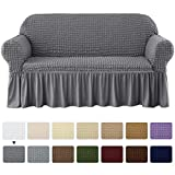 subrtex Stretch Sofa Couch Slipcover 1 Piece Universal Seersucker Armchair Protector with Ruffle Skirt Country Style Durable All-Purpose Furniture Cover(Large,Grey)