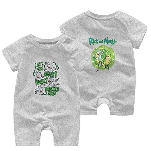Rick N Morty Onesies Baby Boy Girl's Sleepwear Crewneck Summer Outfit Flexible Rompers for Children