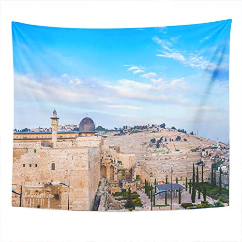 Llsty Tapestry Dung Gate Old City Al Aqsa Jewish Cemetery Judaism Jerusalem Israel 60x80 Inches Polyester Suitable for Dormitory Living Room Bedroom Home Wall