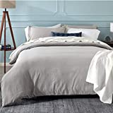 Bedsure Grey Duvet Cover Set with Zipper Closure, Washed Microfiber -...