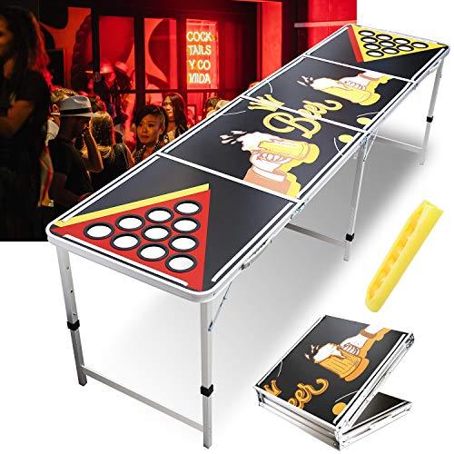 Hengda Beer Pong Tisch Set,Audio Table Design,Beer Pong Table mit LED Beleuchtung und 6 gratis Bier-Pong Bällen