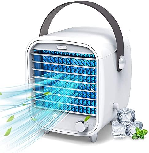 GCFG Aire Acondicionado portátil, purificador de humidificación de Aire Acondicionado, Mini Enfriador de Aire silencioso 3 en 1, Velocidad Ajustable de 3 velocidades, LED de 7 Colores