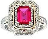 Sterling Silver and 14k Yellow Gold Created Ruby and Diamond Art Deco Ring, Size 7