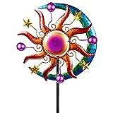 Formano - Windrad für den Garten aus Metall - Windräder Windspiel Windmühle doppelt Sonne/blau/rot/gelb- 124cm Groß