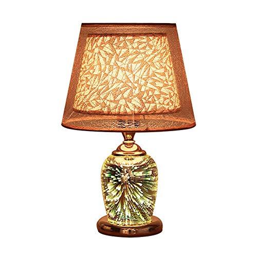 WEM Lámpara de mesa de vidrio moderna para dormitorio, lámpara de escritorio de cabecera con efecto creativo de fuegos artificiales en 3D 3 modos Interruptor doble E27 Iluminación interior Decoración