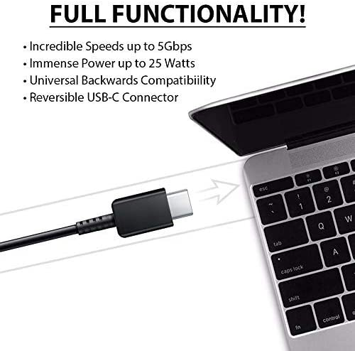 White+Black Authentic Short Two 8inch USB Type-C Cable for Sony G3311 Also Fast Quick Charges Plus Data Transfer!