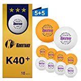 Table Tennis Balls 3 Star White/Orange, Professional K40+ Ping Pong Balls Set ideal for Kids Adult Indoor Outdoor Training Match (10 Pack)