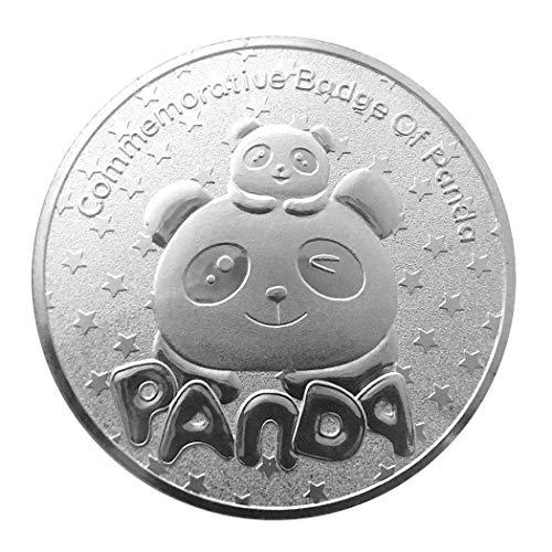 Kocreat Panda - Monedas conmemorativas chapadas en oro plateado con forma de animal para animales (con cajas exquisitas), color plateado
