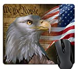 Wknoon Gaming Mouse Pad Custom, Vintage USA Flag American Patriotic Eagle Quotes