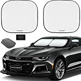 Autoamerics 2-Piece Windshield Sun Shade - Foldable Car Front Window Sunshade for Most Compact Sports Cars - Auto Sun Blocker Visor Protector Blocks 99% UV Rays and Keeps Your Vehicle Cool - Small Fit
