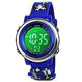 BIGMEDA Reloj Digital para Niños Niña, Luz Intermitente LED de 7 Colores Reloj de Pulsera Niña Multifunción, para Niños de 3 a 12 años (Pirata)