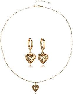 Filigree Cutout Elephant Drop Earrings and Pendant Necklace Jewelry Set