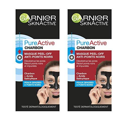 Garnier - SkinActive - Pure Active - Masque Peel-Off Anti-Points Noirs - Peaux Grasses à Imperfections - Lot de 2 x 50 ml