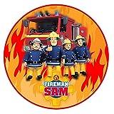Tortenaufleger Feuerwehrmann Sam Fan Motiv Essbare Tortendeko Tortenbild Kuchendekoration Fondant Rund Ø20CM
