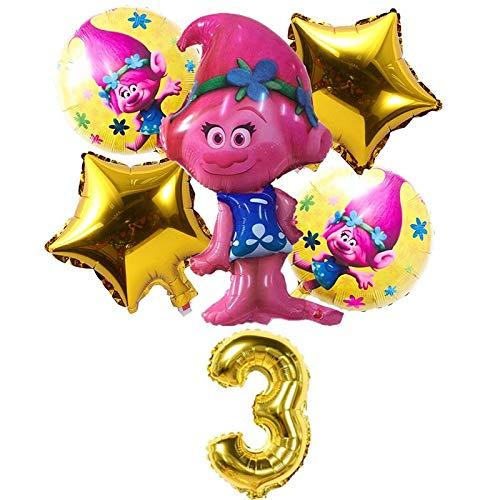 BAYUE Globos 6 pcs / Set Trolls Balloons Baby Happy Brithday Helium Foil Air Balloon Suministros de Boda Decoración Fiesta de cumpleaños Regalo for niños ( Color : Gold 3 )