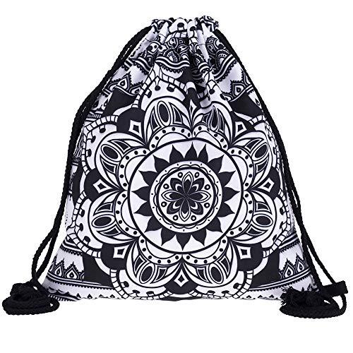 PREMYO Bolsa de Cuerdas Saco de Gimnasio Deporte Mochila Mujer Hombre con Impresión Mandala Motivo Gracioso Práctico Cómodo Cordón Robusto