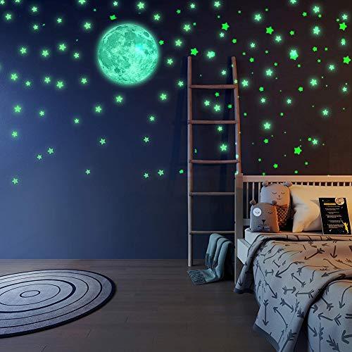 Luminoso Pegatinas de Pared,Brillante Estrellas y Luna Pegatina de Pared para Dormitorio de Niños -DIY Decoración de la Habitación Para Chico Niña Bebé