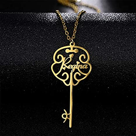 Custom Key Name Necklace Women Gold Filled Stainless Steel Firstname Personalized Name Collar For Girlfriend Lady Female Jeweley